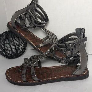 SAM EDELMAN Metallic Grey Sandals